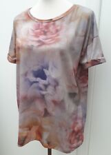 Zara Collection Ladies Size S 8 10 12 Pink Grey Floral Tunic Top Open Back Rose