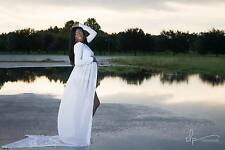 White Maternity Gown Chiffon Gown Maxi Evening Gown Long Sleeve Maternity Dress