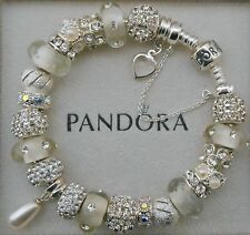Authentic Pandora Bracelet Swarovski Pearl 925 Sterling Silver Safety Chain~Box