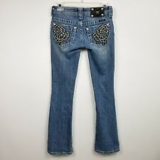 Miss Me Womens Jeans 24 Measures 27x31 Rose Flower Boot Low Rise Medium Wash