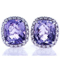 11.48CT Amethyst & Diamond Earrings F SI in 18K White Gold