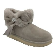 UGG CINCHED FUR MINI OYSTER SUEDE SHEEPSKIN CRYSTAL WOMEN'S BOOTS SIZE US 8
