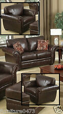 Burgundy Leather 3 Seater 2 Armchairs Sofa Suite Highbury