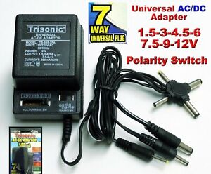 Universal ac/dc power adapter output 3V 4.5V 6V 7.5V 9V 12V 500mA 2sony plug