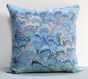 "Vintage Jonelle Abstract Feather Design Cushion Cover 18x18"" Linen Union Blue"