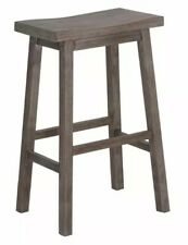 "Boraam 29"" Sonoma Gray Grey Wire-brush Rustic Style Saddle Seat Bar Stool NEW"