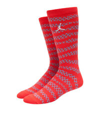 NIKE AIR JORDAN AJ 10 X CITY PACK Crew Socks Orange Red & Grey YOUTH 3Y-5Y W 4-6