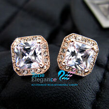 9ct gold GF stud wedding solid women earrings made with swarovski elements #BO03