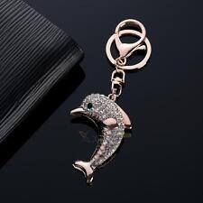Lucky Dolphin Crystal Novelty Animal Keychain Purse Bag Pendant Car Keyring Gift