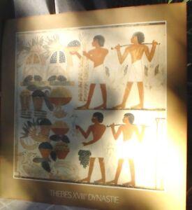 EGYPTIAN PRINT ON BOARD 18 TH DYNASTY 63 CM X 62 CM THEBES XV111 DYNASTIE