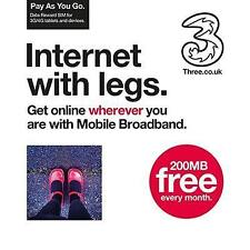 Three 3 PAYG Broadband Trio SIM Card 200MB Ready to Go for iPad Tablet