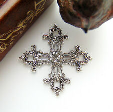Antique Silver Maltese Filigree Cross Stampings ~ Jewelry Findings (Cb-3044)