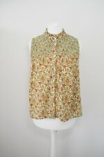 ASOS Floral Top Size 10 Ruffle High Neck Retro 70s Style Print Buttons Blouse