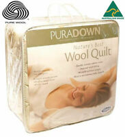 Puradown 100% Australian Wool 500gsm Doona|Duvet| Quilt KING|QUEEN|DOUBLE|SINGLE
