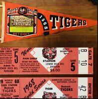 ( 2 ) 1968 World Series Gm 5 Tickets Detroit Tigers/ Cardinals W/ 1968 Pennant !