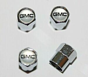 GMC Silver Tire Valve Stem Caps Wheel - Plus Free Extra Cap - Total 5 Caps