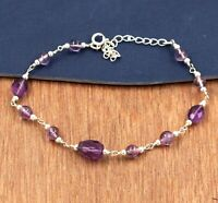 Amethyst Gemstone Daily Wear Gift Bracelet Solid 925 Sterling Silver Jewelry