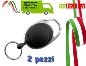 2pz Portachiavi Retrattile Estensibile Block Shaft  filo clip Sicura Chiavi nero