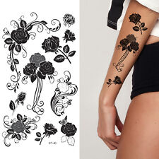 Supperb Temporary Tattoos - Tribal Black Roses Temporary Tattoo