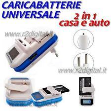 CARICATORE CARICABATTERIE UNIVERSALE LCD CASA AUTO CELLULARE FOTOCAMERA USB MP4