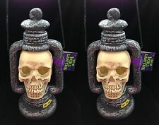 Strobe Light Skull Lanterns Lamps Gothic Haunted House Props Decorations-2pc Set