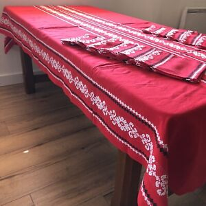 Vintage FrenchBasque Tablecloth &12 Napkins Woven Metis Red Long Rectangular