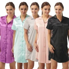 Satin Patternless Nightdresses & Shirts for Women