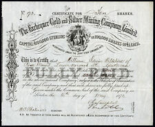 Exchequer Gold & Silver Mining Co. Ltd., £1 shares, 1876