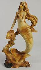 MERMAID & FISH FAUX WOOD CARVING Figure Statue NEW Ocean Sea Fantasy Coral Reef