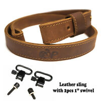 Leather Rifle Sling Gun Strap + Swivels_Crazy Horse/Brown_Amish Handmade Cowhide