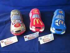 McDonalds NASCAR Beanie Racers by P.J. Toys GOLD RED BLUE ~ NEW with TAGS