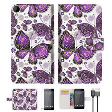 Purple Butterfly Wallet TPU Case Cover For HTC Desire 825 -- A017