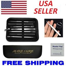 8pcs Blackhead Acne Pimple Blemish Extractor Remover Tool Kit Curved Tweezers