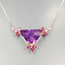 Handmade Natural Amethyst 925 Sterling Silver Necklace Length 19/N03203