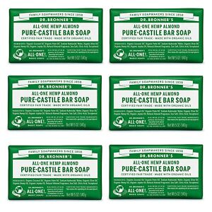 6 Lots,Dr. Bronner's - Pure-Castile Bar Soap (Almond, 5 ounce) - Made with Organ