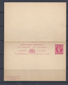 ST. VINCENT  QV POSTAL STATIONERY UPU REPLY POST CARD ONE PENNY CERISE UNUSED