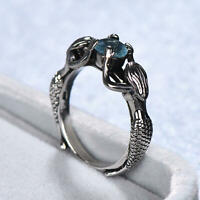 Magnificent 925 Silver Two Mermaids With Pearl & Aquamarine Ring Wedding Jewelry