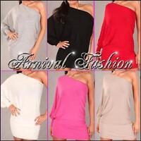 WOMEN LONG JUMPER DRESS size 8 10 12 LADIES PULLOVER ONE OFF SHOULDER TOP S M au