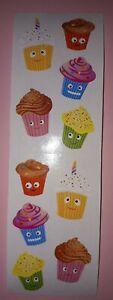 🦁💜Mrs Grossman's 1 Streifen = 2 Abrisse Cutie Cupcakes Scrapbook Sticker 💜🦁