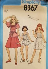 Simplicity pattern 8367 Girls' Skirt,  Pre-Shirred Dress, Tops & Shorts size 7
