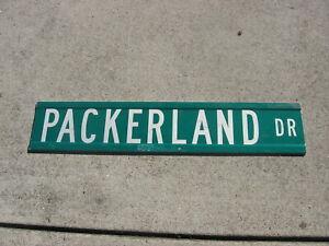 "Vintage Original Green Bay Wisconsin ""Packerland Drive"" Retired Street Sign"