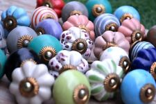 Drawer-Handles Kitchen Ethnic Knobs Mix Color Ceramic Door Pulls 10 Pcs