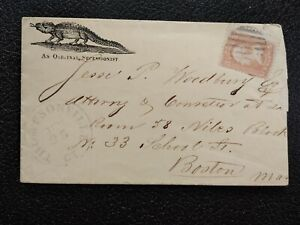 Civil War: Thompsonville, Ct. 1860s #65 Crocodile Secessionist Patriotic Cover