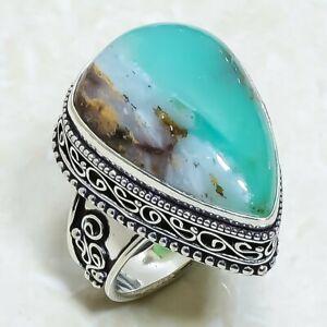 Boulder Chrysophrase Gemstone Vintage Silver Jewelry Ring Size 8.5 RRJ6594