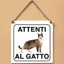 Snowshoe 2 Attenti al gatto Targa gatto cartello ceramic tiles