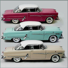 THREE WELLY 1953 FORD VICTORIA 1/24 DIECAST CARS UN-BOXED, MAROON TEAL & CREAM.