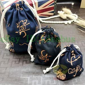 "12PCS Cotton Linen Navy with Cursive Calligraphy Drawstring Bags Pouches 5.5""x4"""