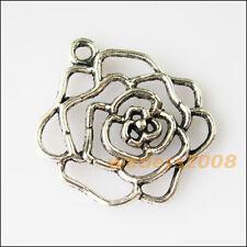 5 New Hollow Rose Flower Tibetan Silver Tone Charms Pendants 26x28mm