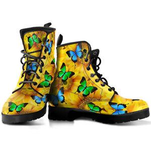 Sunflowers & Butterflies Women Boots, Sunflower Vegan Leather Booties
