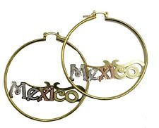 Mexico Three Tone Hoops 18K Gold Plated Hoops - Mexico 2 inch Hoops
